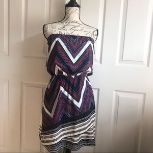 Express Strapless Elastic Waist Faux Wrap Dress